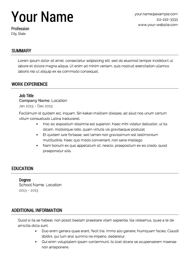 16 free resume templates excel pdf formats - Resumen Samples