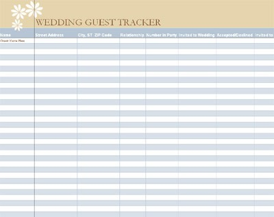 17 Wedding Guest List Templates Excel PDF Formats – Wedding Guest List Printable Template