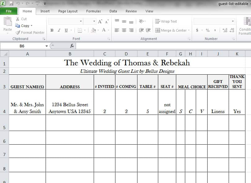 wedding guest excel template - Acur.lunamedia.co