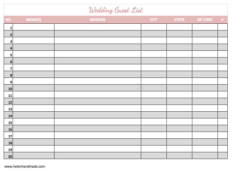 Wonderful Word MS Templates Within Guest List Template For Wedding