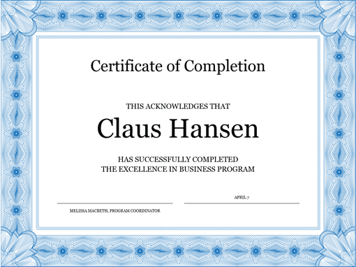 microsoft word certificate of completion template 28
