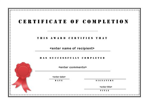 Great Sample Certificate Of Completion Ideas Printable Certificates Of Completion