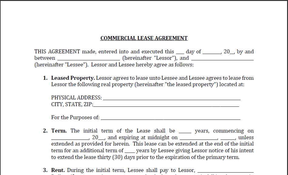Word MS Templates Within Commercial Property Lease Agreement Free Template