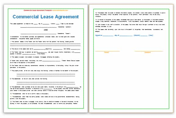 Simple One Page Commercial Lease Agreement | Files Bank