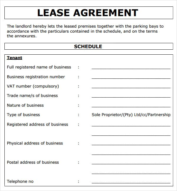Sample Lease Agreement Template Free Printable Rental Lease