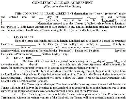Gentil ... Free Commercial Lease Agreement Template
