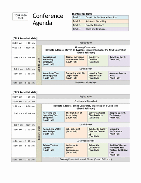 15 Meeting Agenda Templates Excel PDF Formats – Conference Schedule Template