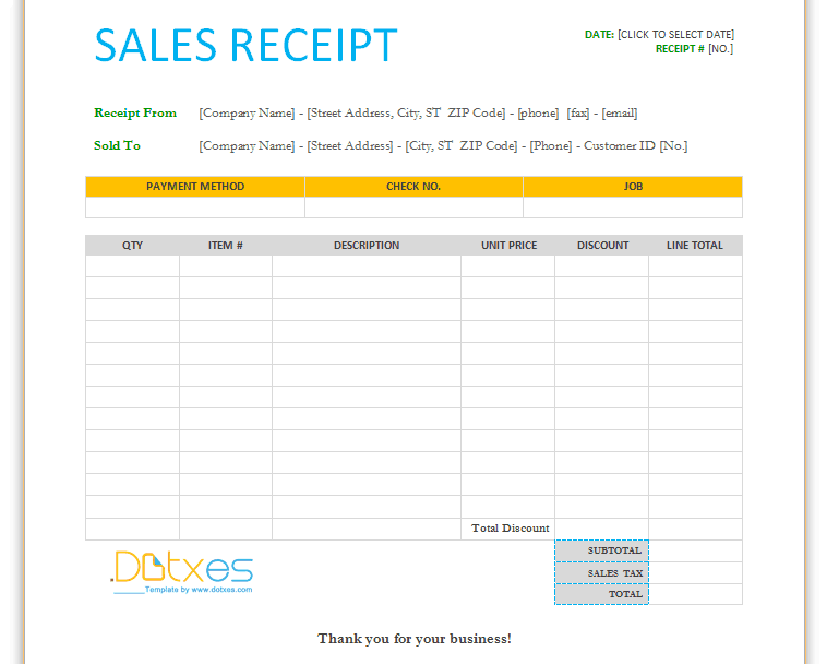 Word MS Templates  Cash Sale Receipt