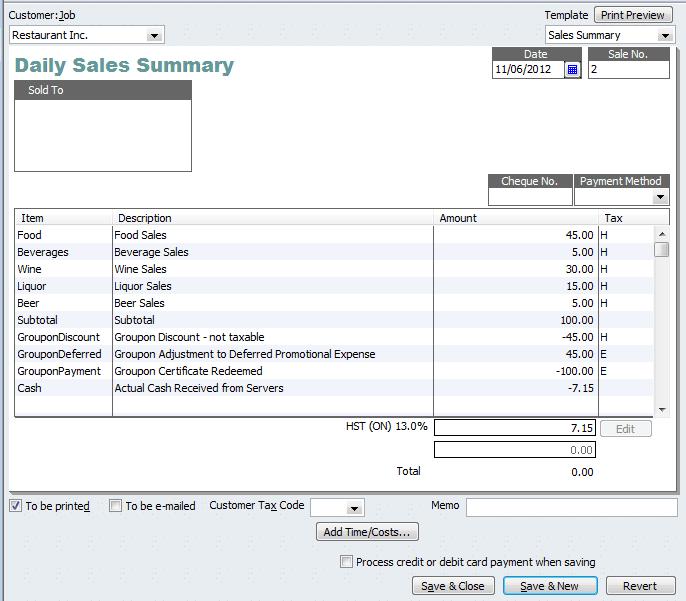 sale receipt example