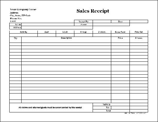 Office Sales Receipt