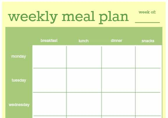 18 Free Plan Templates Excel PDF Formats – Diet Menu Template