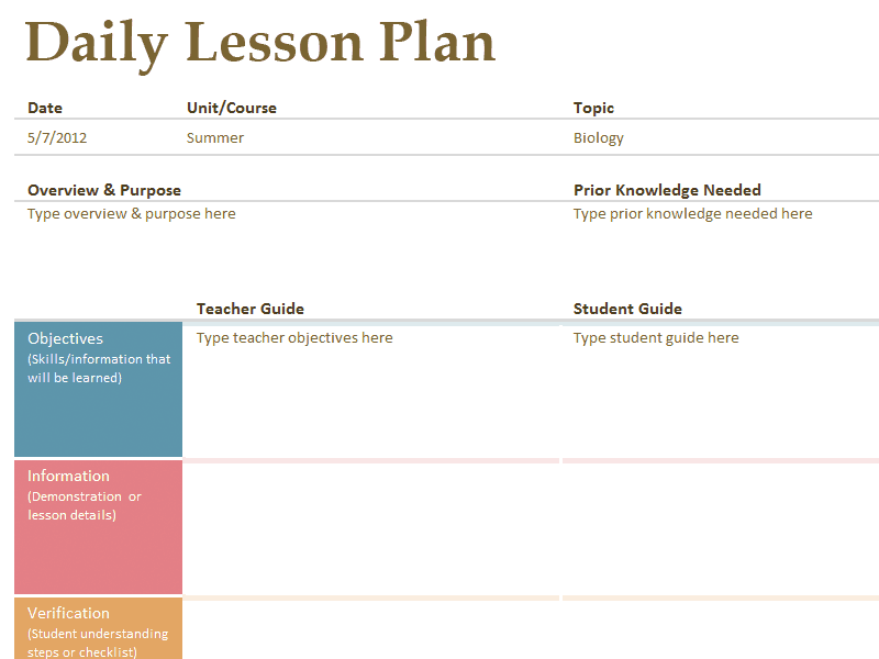Word MS Templates  Lesson Plan Template Download