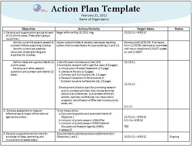 18 free plan templates excel pdf formats for Project activity plan template