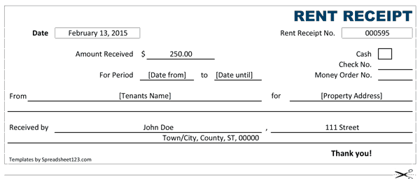 Word MS Templates  Apartment Rent Receipt