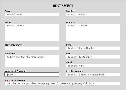 14 Rent Receipt Templates Excel PDF Formats – Rent Receipt Sample
