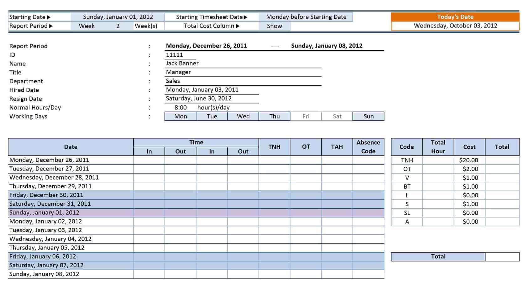 12 Employee Tracking Templates Excel PDF Formats – Office Attendance Sheet Excel Free Download