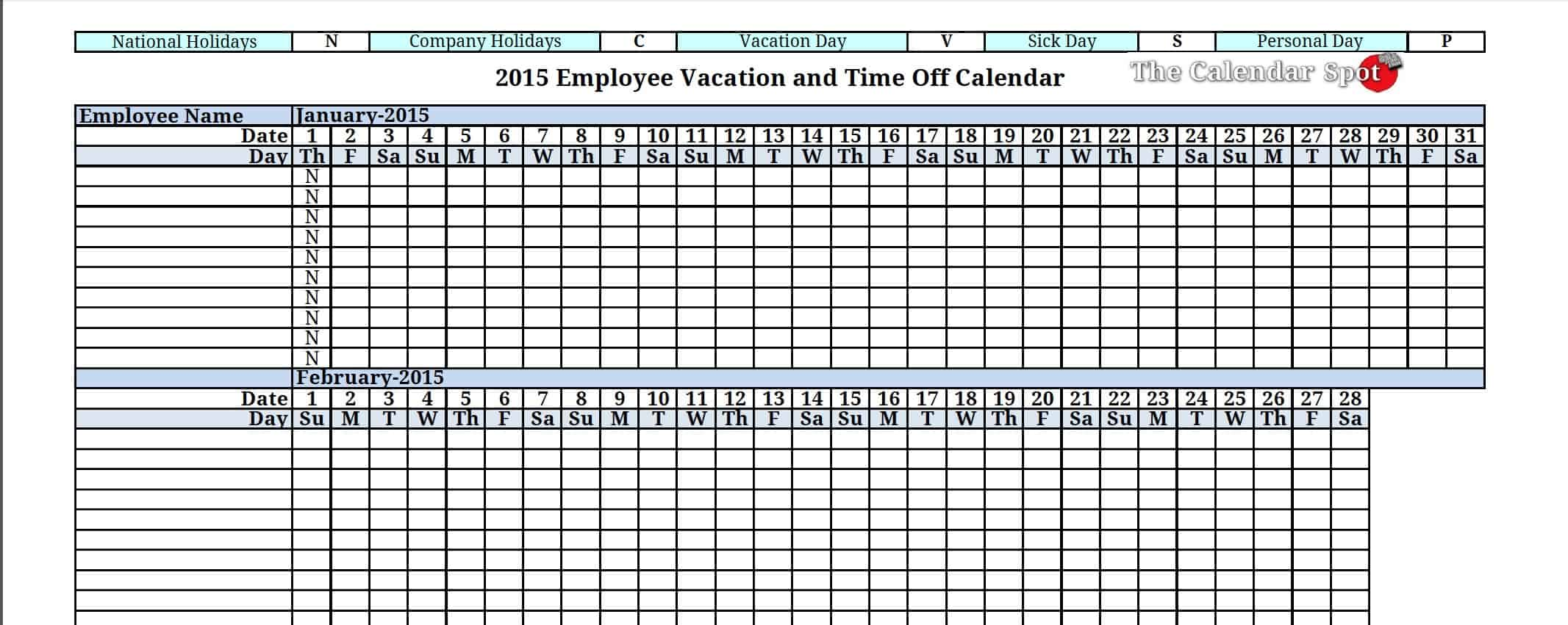 12 employee tracking templates excel pdf formats for Yearly vacation calendar template