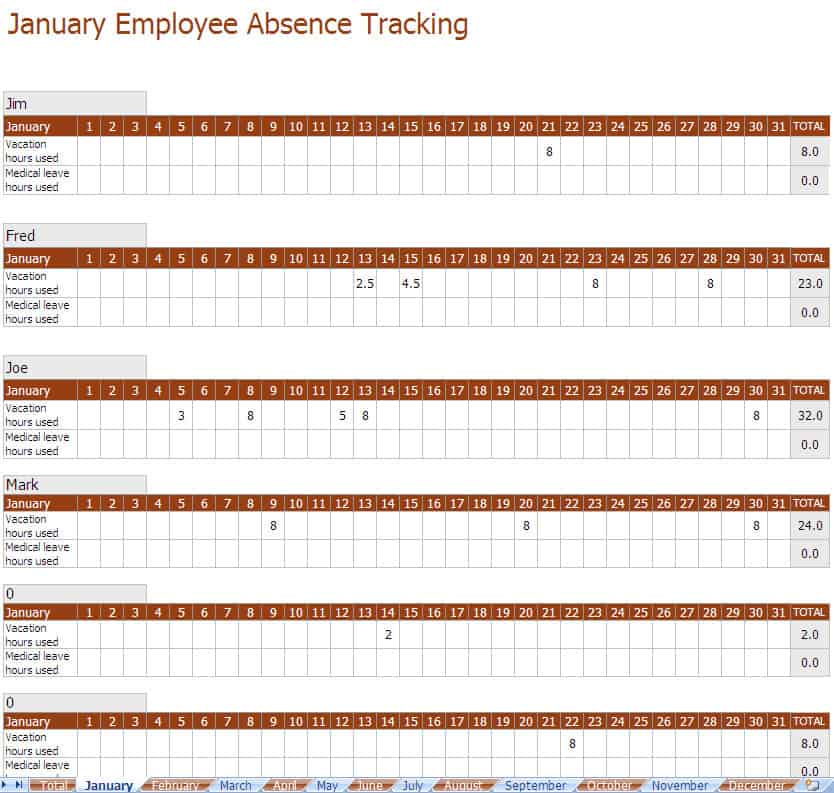 Sample Vacation Calendar  Employee Tracking Templates  Excel