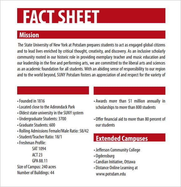 12 Fact Sheet Templates - Excel Pdf Formats