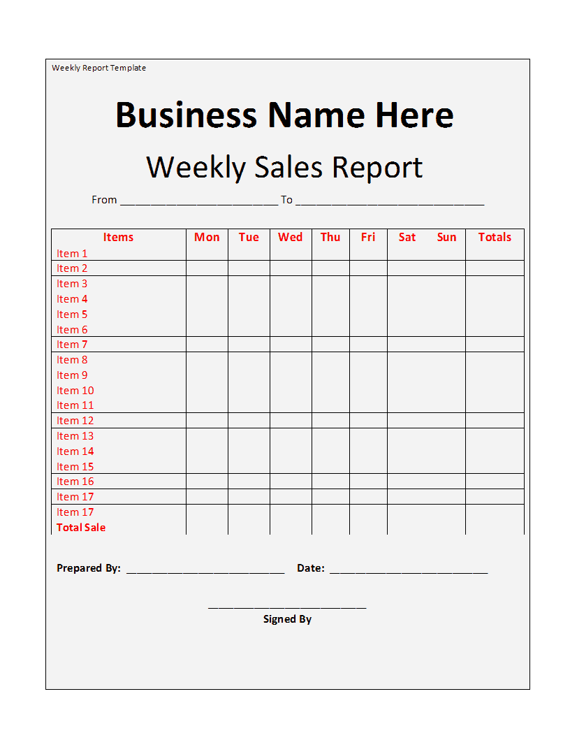 weekly sales report format in excel