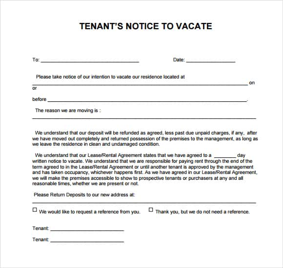 free 30 day notice to vacate template - 24 free eviction notice templates excel pdf formats