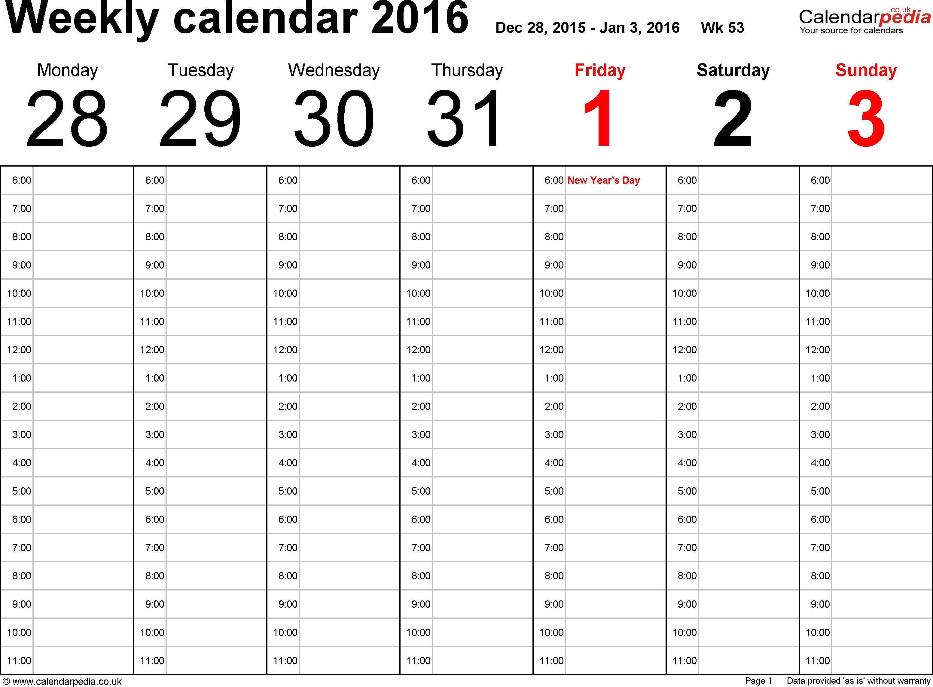 5 Weekly Calendar Templates Excel Pdf Formats