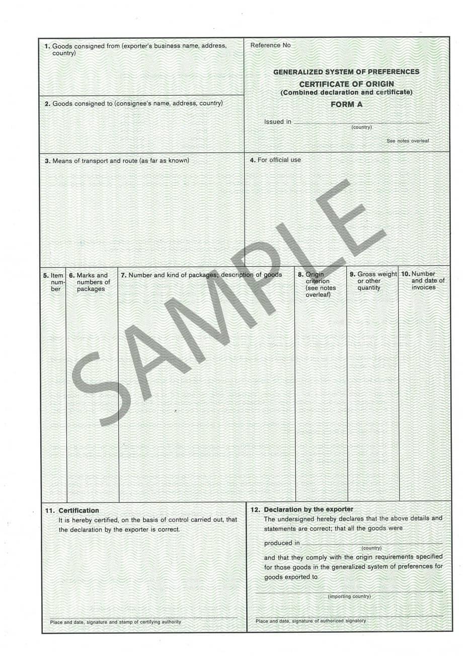 5 certificate of origin templates