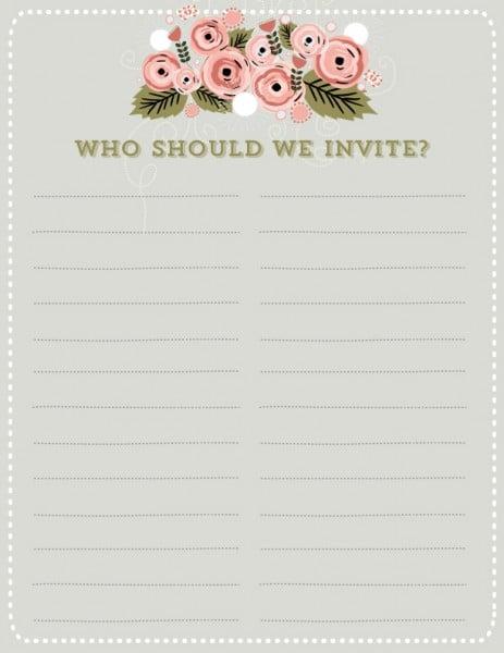 Free Wedding Guest List Template