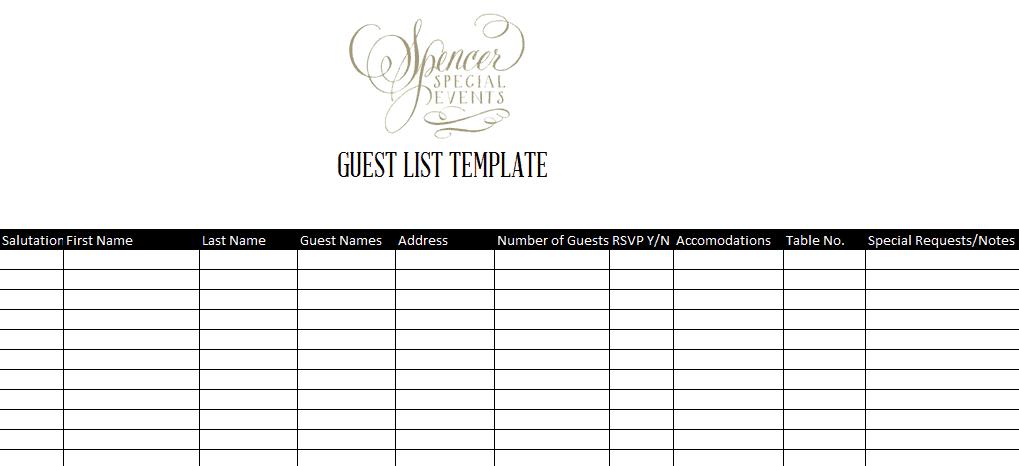 7 guest list templates excel pdf formats