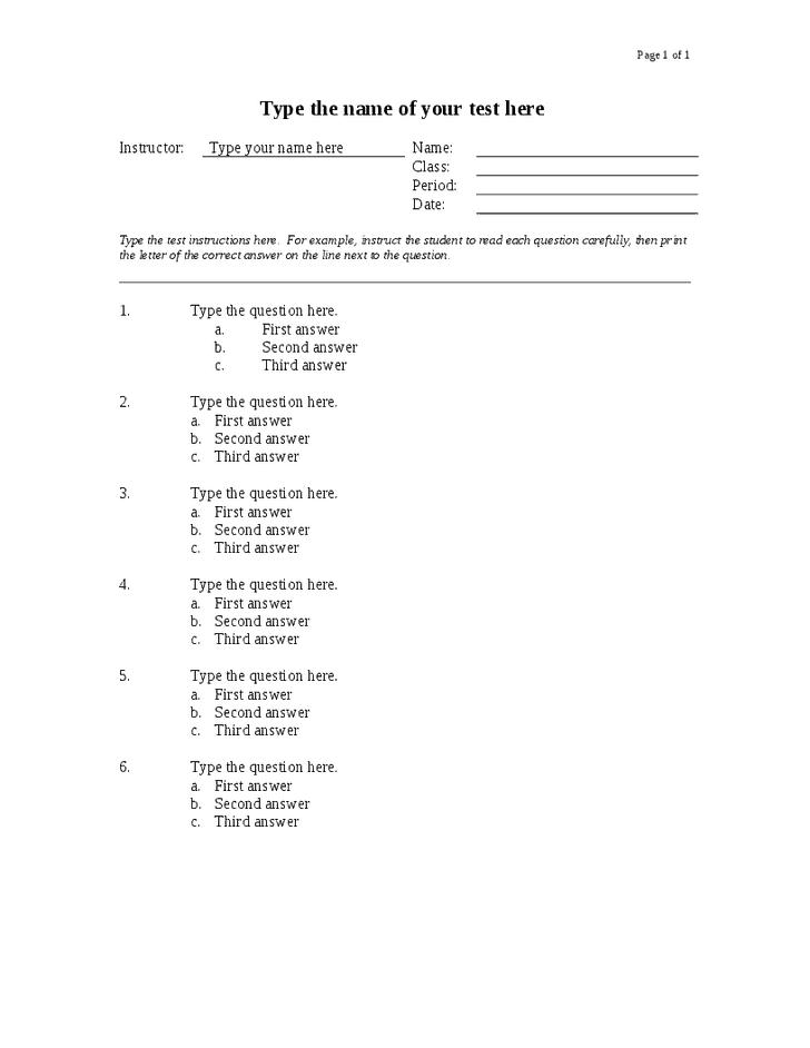 6 quiz templates