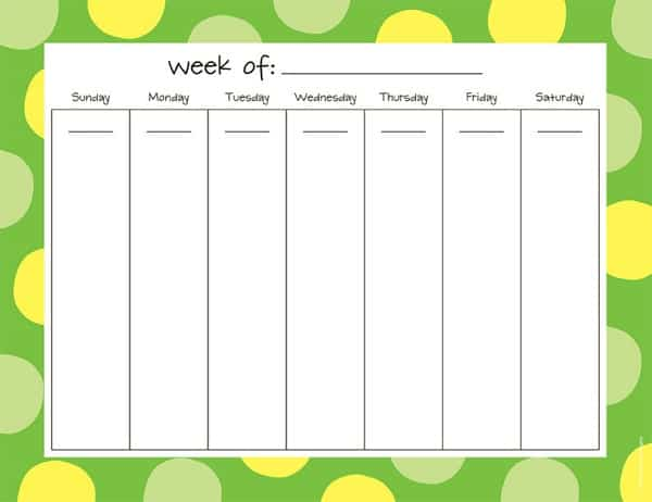 5 weekly schedule templates