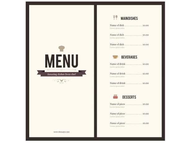 8 menu templates