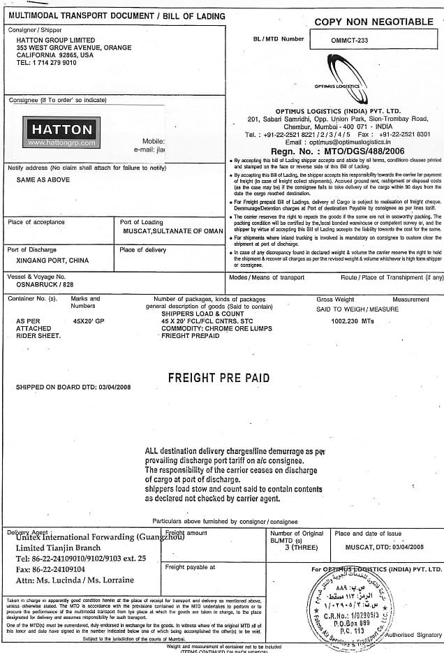 bill of lading template 535