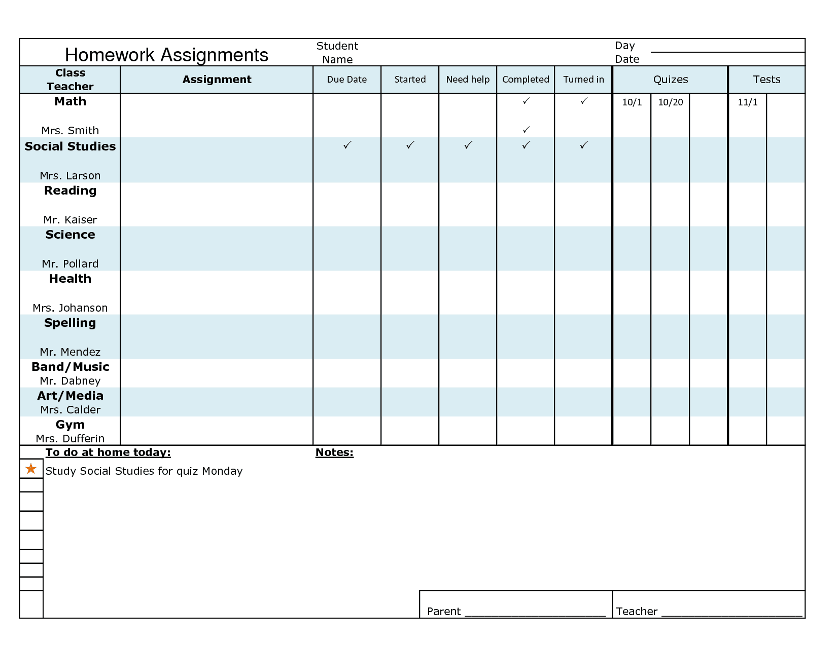 16 homework templates