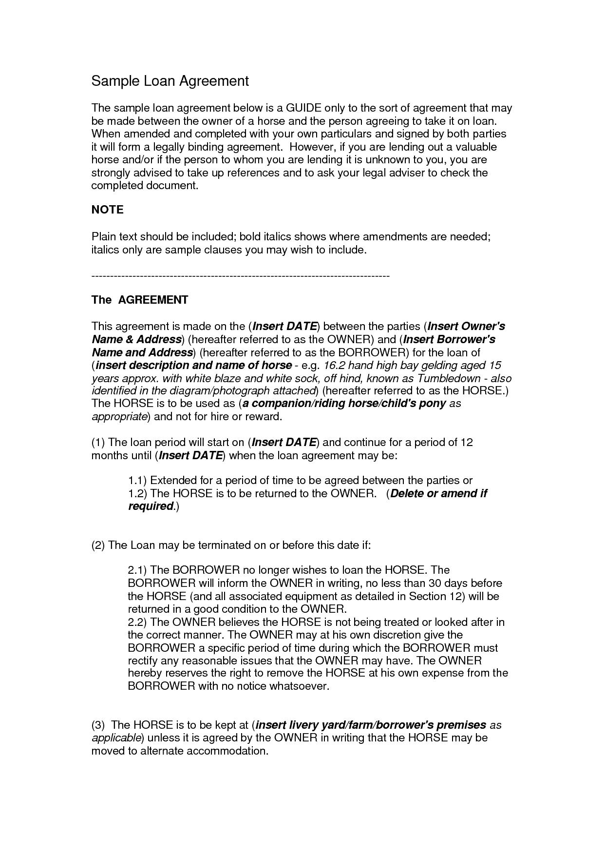 supérieur loan agreement template 9898