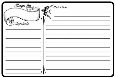 recipe card template 85445