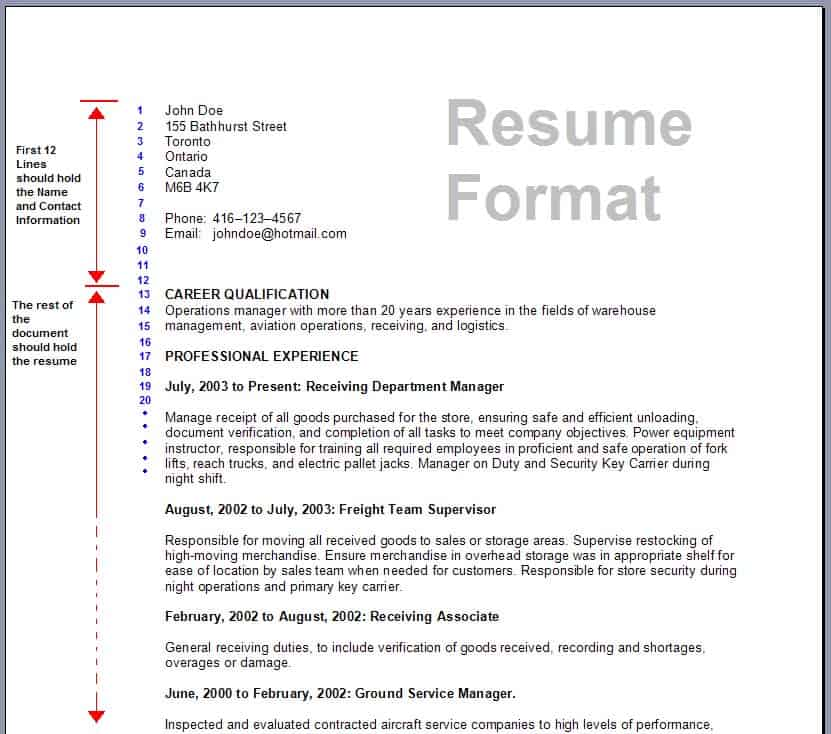 resume-template-1991 Sample Canadian Resume Format on job application, for high school students,