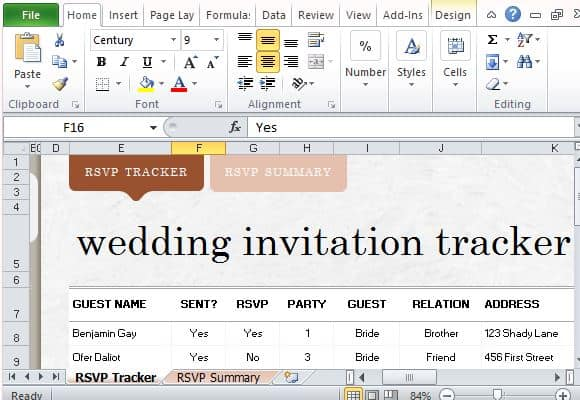 Example Of Wedding Guest List