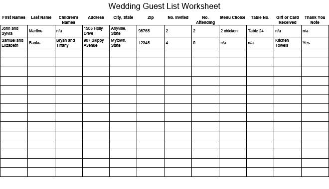 wedding gust list template 9797