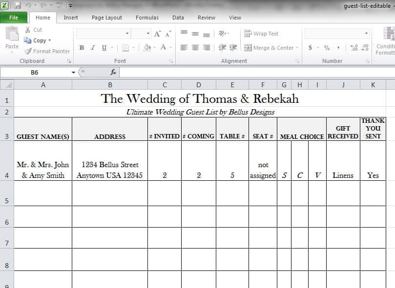 Excel spreadsheet wedding guest list