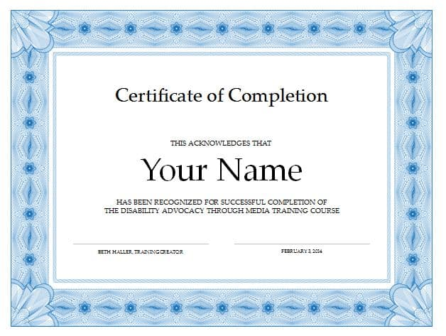 Certificate of Completion template 3698