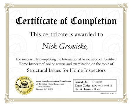 Certificate of Completion template 4578