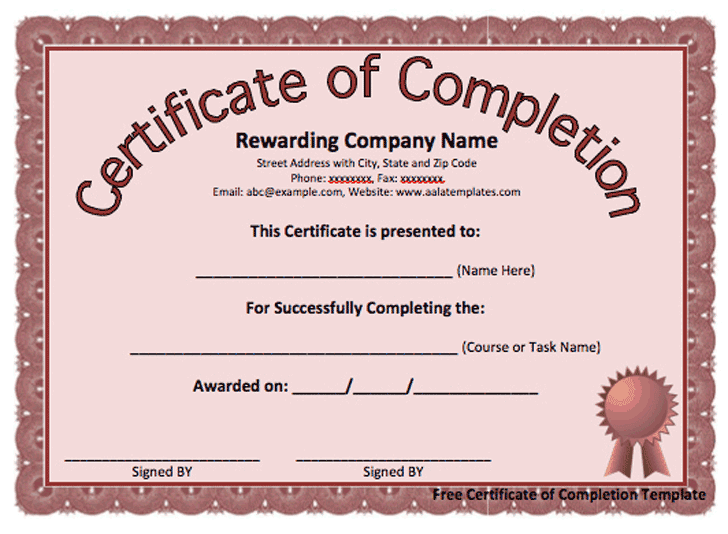 Certificate of Completion template 9854