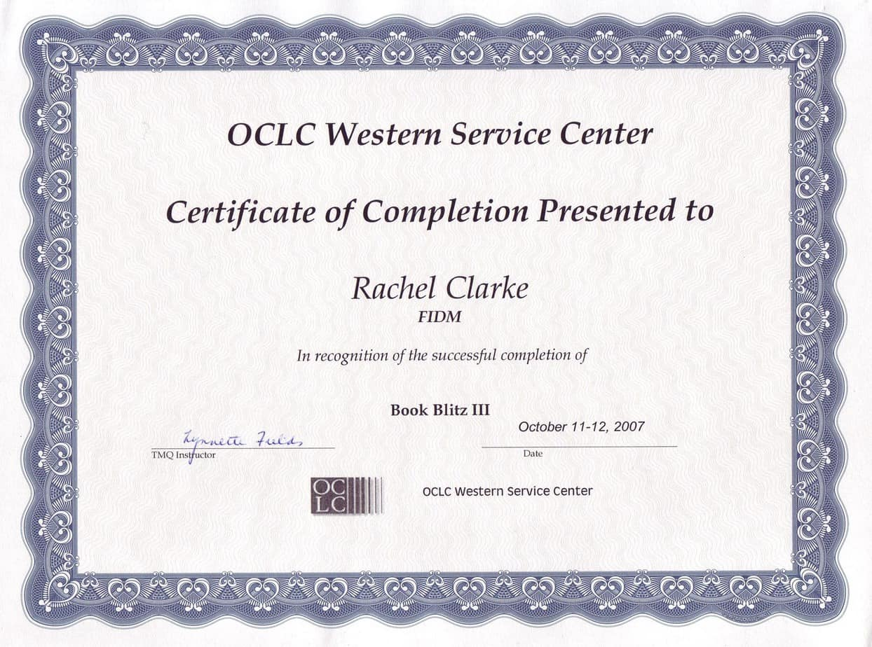 Certificate of Completion template 987