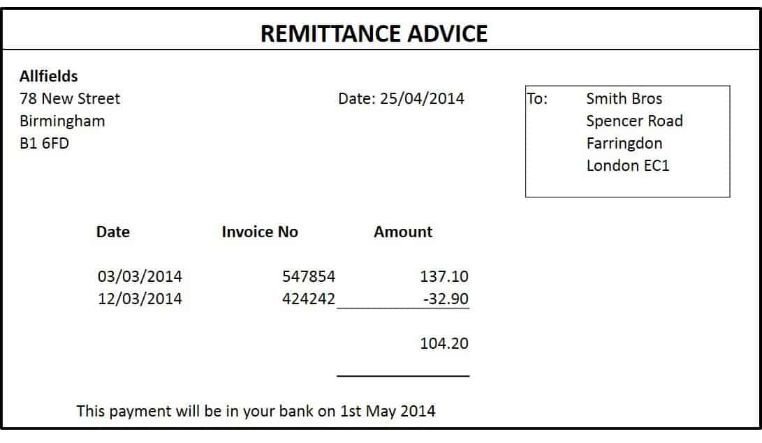 remittance template