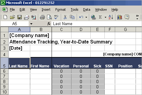 Attendance Tracking template 5656