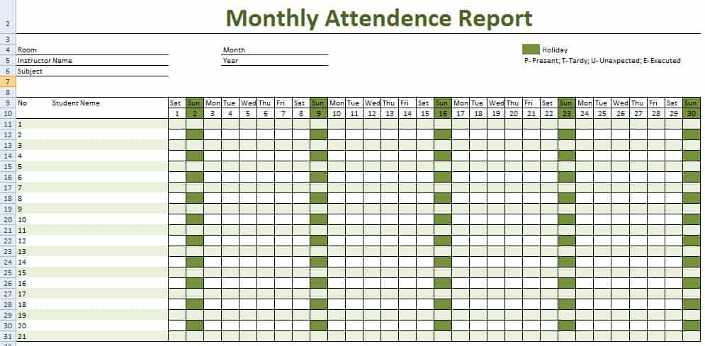Attendance Tracking template 8858