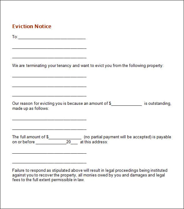 Eviction Letter Template Free | 24 Free Eviction Notice Templates Excel Pdf Formats